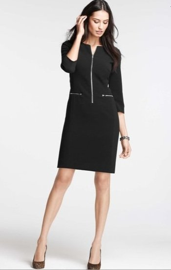 Ann Taylor Zip-Front 3/4 Sleeve Dress