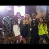 Demi Lovato posed with her X Factor crew. Source: Instagram user demilovat