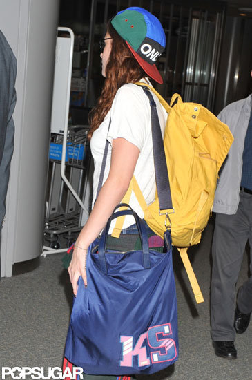 Kristen Stewart arrived for a flight out of Tokyo.