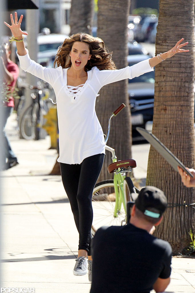 Alessandra Ambrosio got playful with the camera.