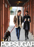 Anne Hathaway and Adam Shulman picked up coffees at Starbucks in October 2012 while out near their home in Brooklyn.