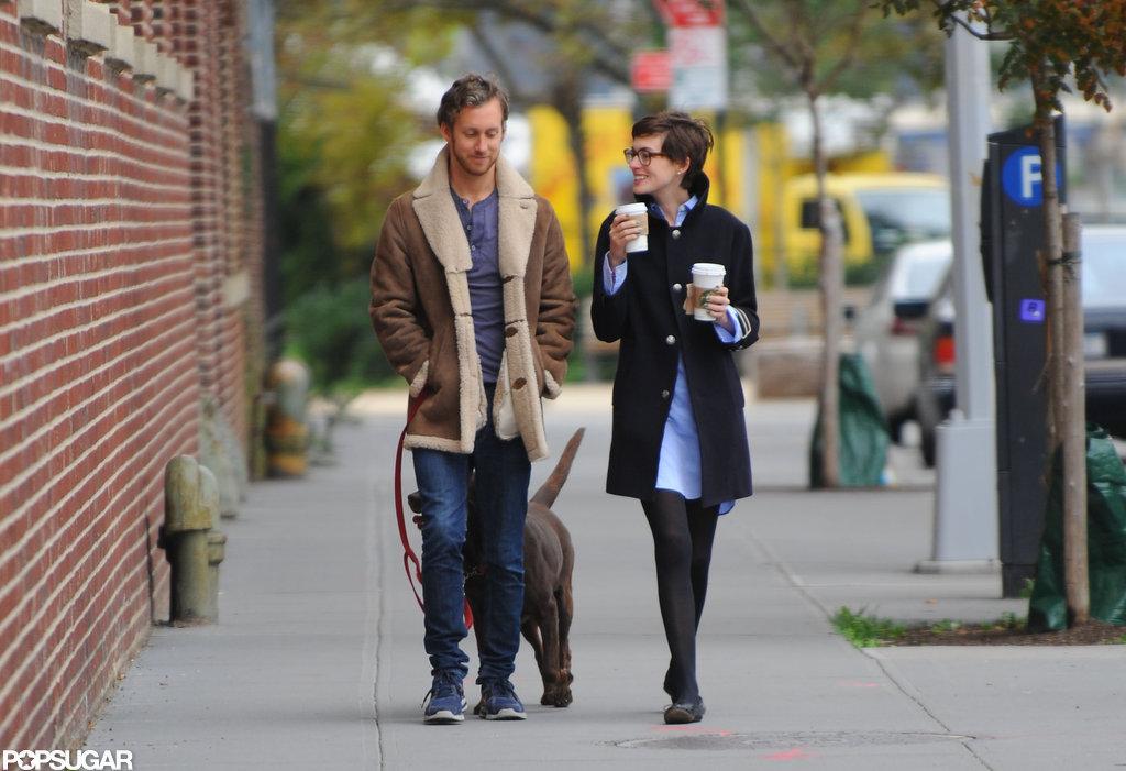 Anne Hathaway and Adam Shulman walked in Brooklyn.