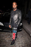 Kanye West joined the festivities in a leather jacket, styled out with statement pants and high-tops.