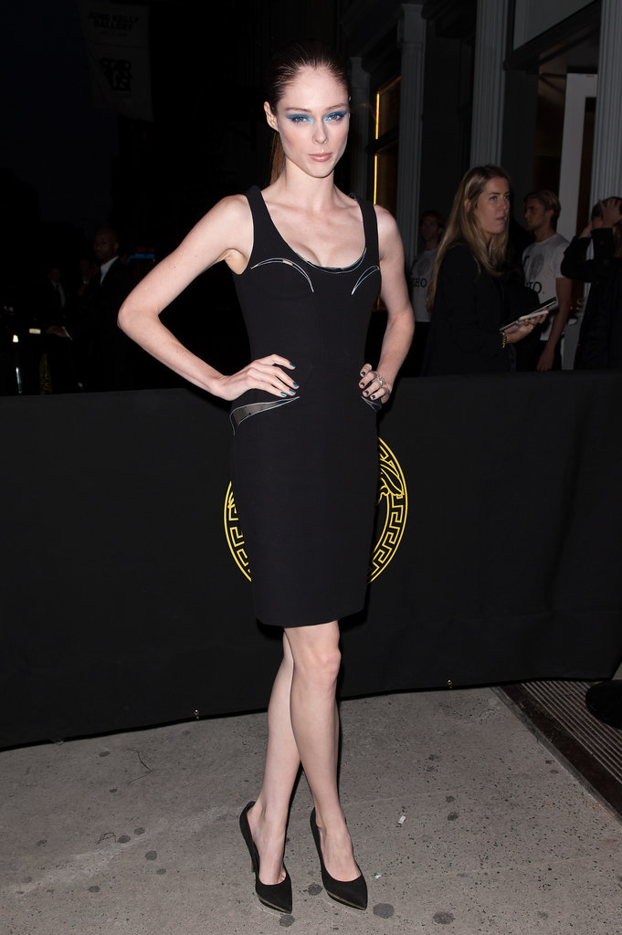 Coco Rocha worked a Versace LBD — and some major blue eye shadow.