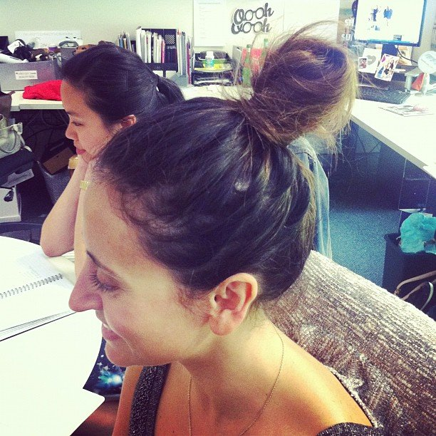 Our publisher Marisa was working the topknot trend like it was nobody's business.