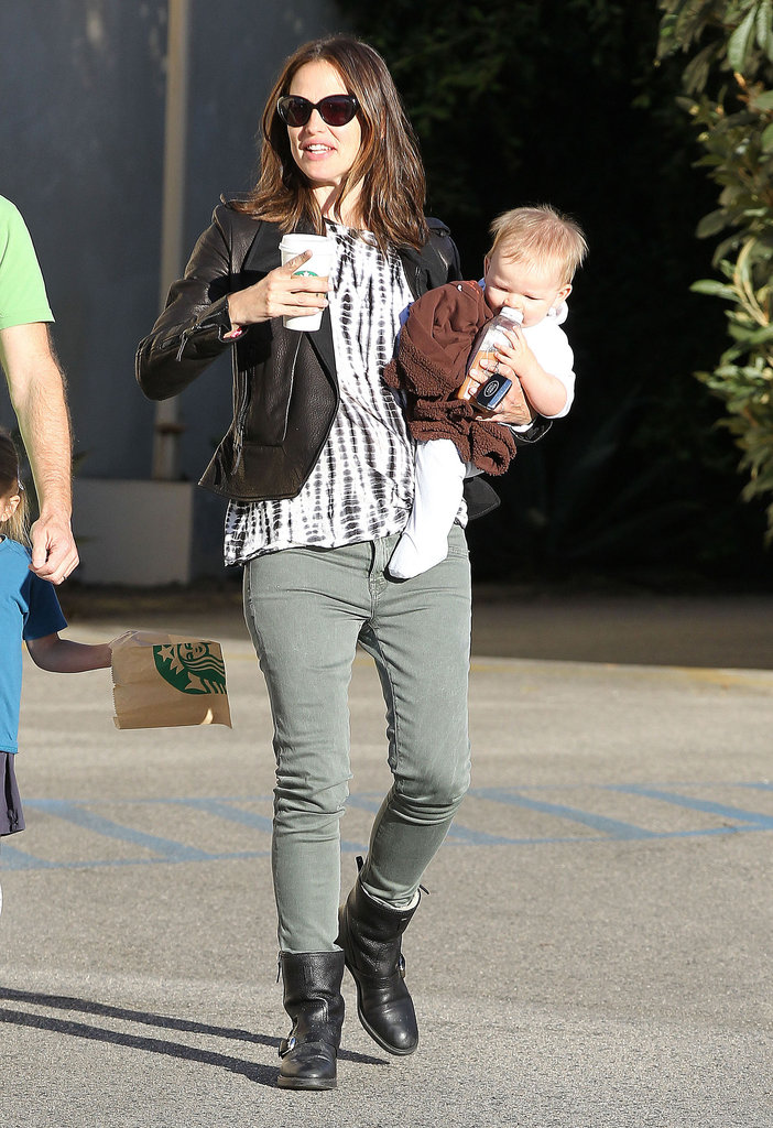 Jennifer Garner brought baby Samuel Affleck along to a friend's home in LA in October.