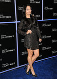 Vanessa Hudgens posed solo on the blue carpet.