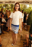 Mandy Moore was the picture of Spring in a printed mini and chic white top.