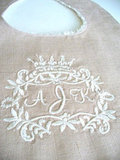 Crown Monogram Linen Baby Bib