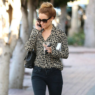 Lauren Conrad Wearing Leopard Blouse
