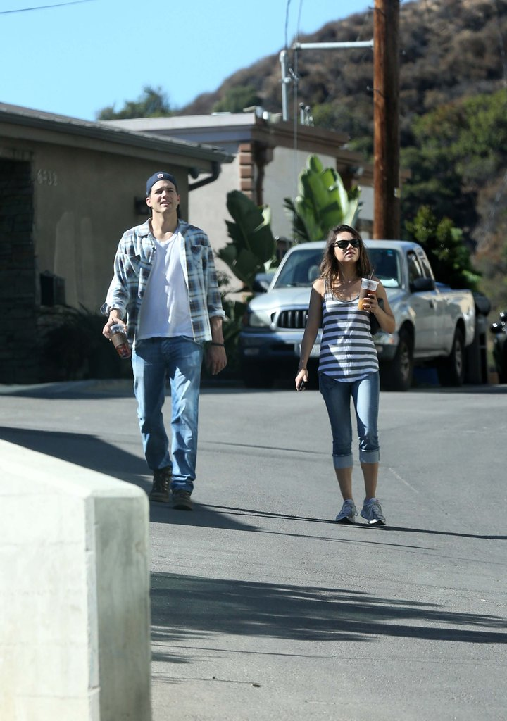 Ashton Kutcher and Mila Kunis took a walk in LA.