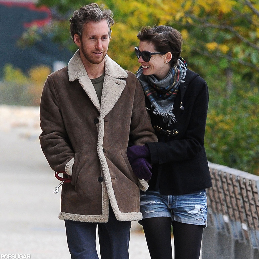 Adam Shulman walked with his wife Anne Hathaway in Brooklyn.