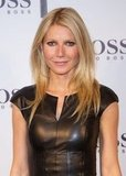 Gwyneth Paltrow wore a black leather dress.
