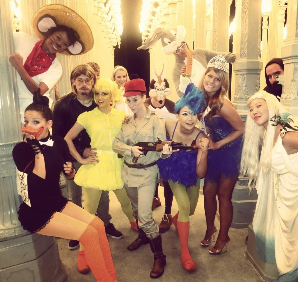 Dianna Agron shared a snap of her dressed up with a group of friends.  Source: Facebook user Dianna Agron