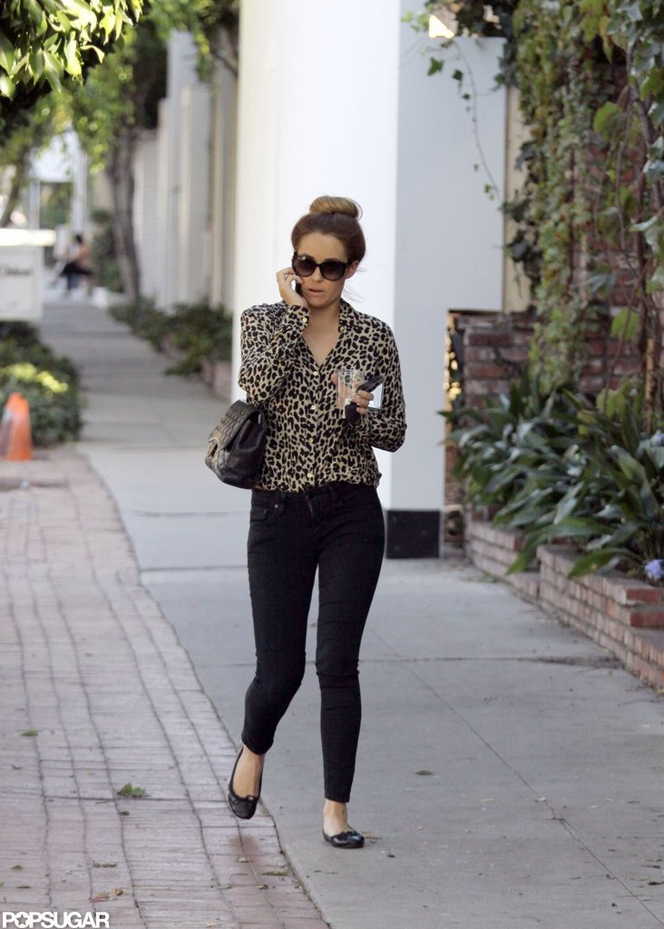 Lauren Conrad sported a sock bun and sunglasses to shop around LA.