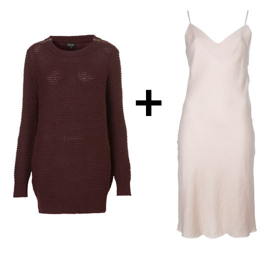 Give a satin slip dress a truly seasonal vibe with Fall's favorite burgundy hue on an oversize pullover.  Topshop Knitted Zip Shoulder Jumper ($84) Ann Demeulemeester Slip Style Dress ($239, originally $478)