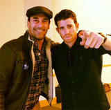 Jon Hamm and Bryan Greenberg posed while out on the trail in Nevada.  Source: Facebook User Obama for America