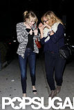Emma Stone goofed off with a friend while walking to dinner in LA in October 2012.