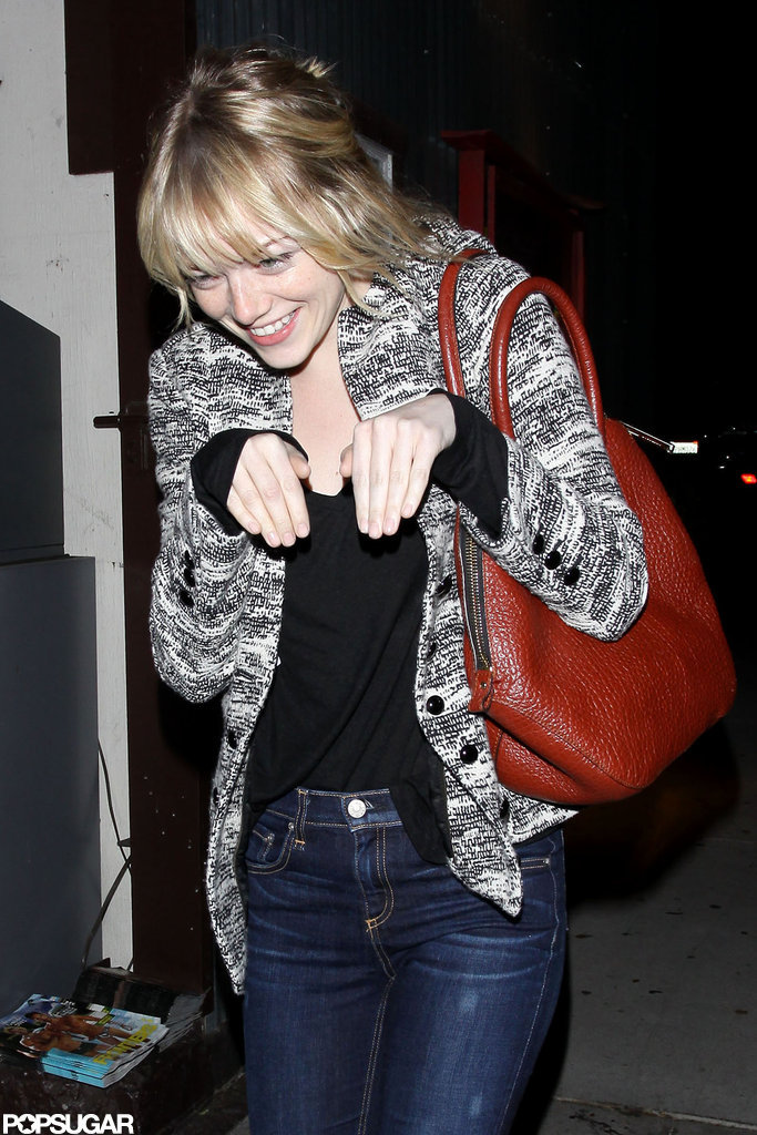 Emma Stone struck an adorable pose heading to her car.