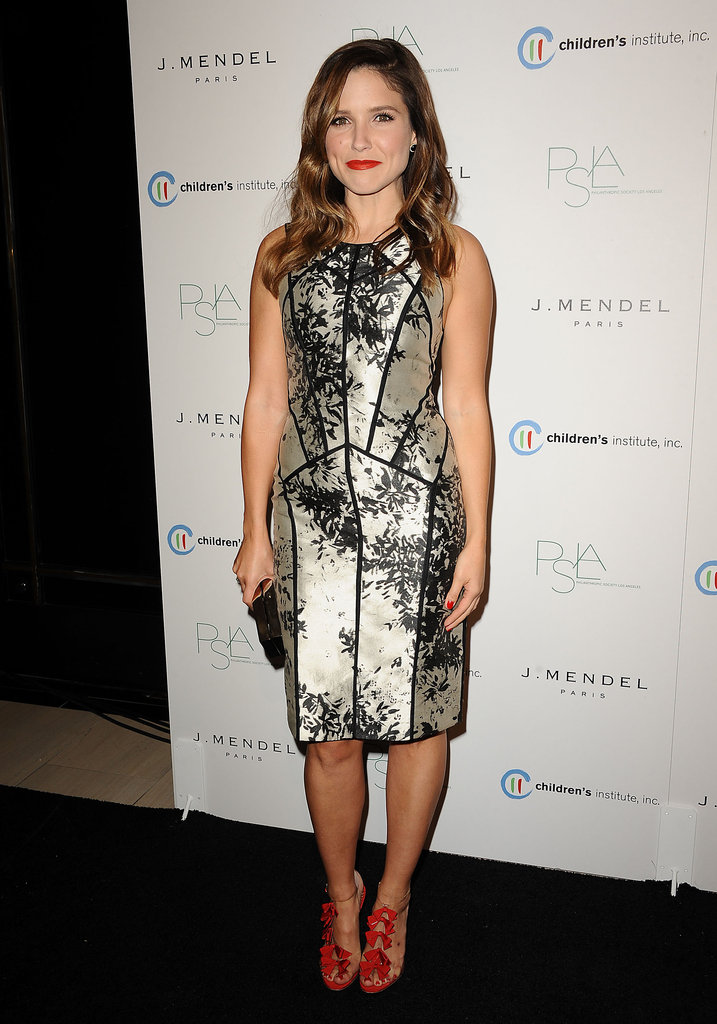 Sophia Bush's paneled floral J.Mendel cocktail dress was a hit at a Hollywood party in the middle of the month — she looked supersophisticated and ladylike.