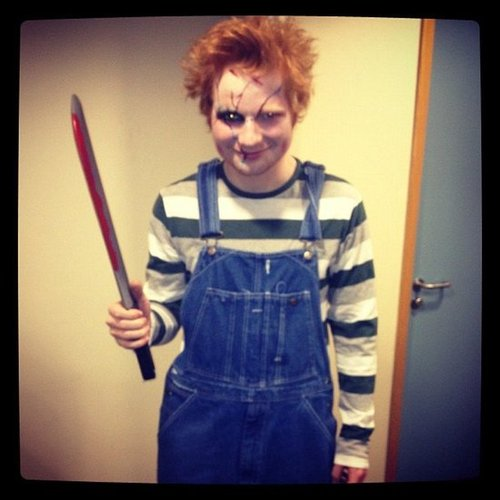 Chucky Ed Sheeran looked terrifying as doll psycho killer Chucky. Source: Instagram user teddysphotos