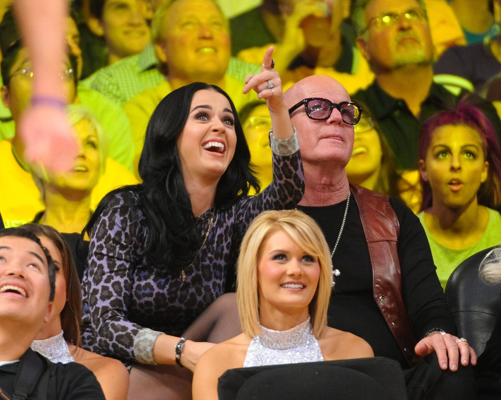 Katy Perry was at the Lakers game with her dad.