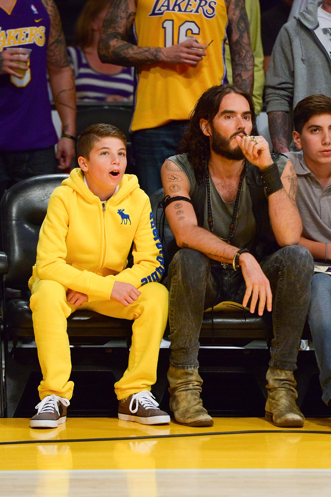 Russell Brand checked out the Lakers home opener.
