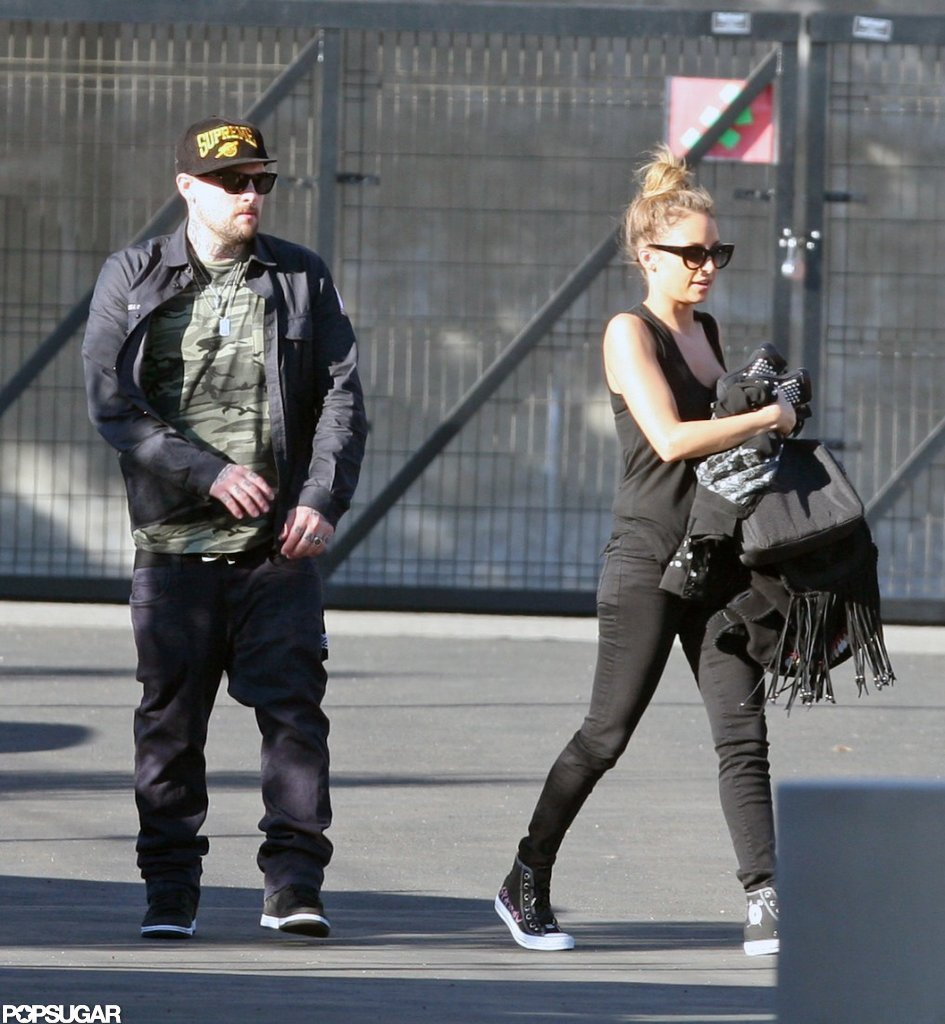 Joel Madden dropped Nicole Richie off at work.