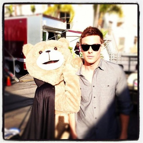 Cory Monteith ran into Count Ted-ula on Halloween. Source: Instagram user adamshankman