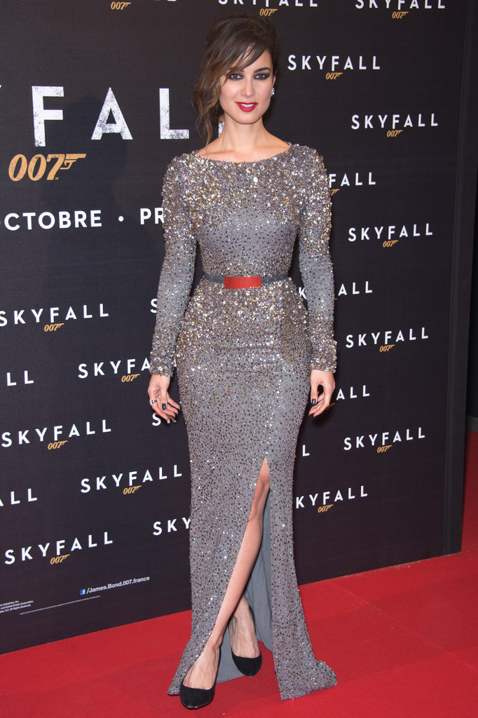 At the Skyfall Paris premiere, Bérénice Marlohe wore a beaded Elie Saab dress paired with Sergio Rossi pumps.