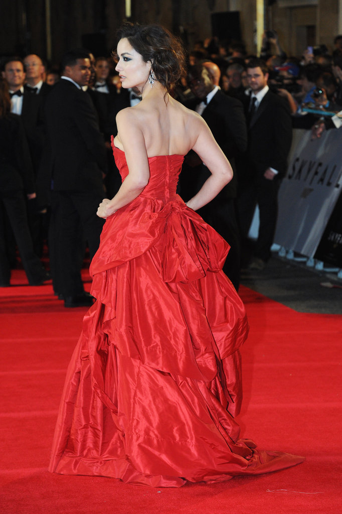 A back shot of Bérénice Marlohe's stunnning Vivienne Westwood gown.