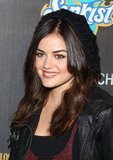 Pretty Little Liars star Lucy Hale added a black-knit beanie to her already Fall-appropriate attire, but you really can never have enough textural intrigue.