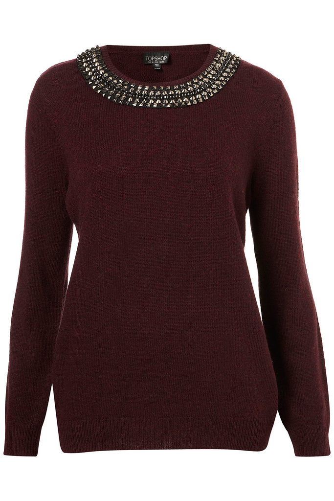 This Topshop knitted necklace stud jumper ($90) makes dressing in the morning a little easier — no accessories needed!