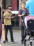 Romeo Beckham pushed Harper's stroller around Universal City.