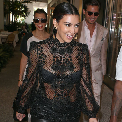 Kim Kardashian Wearing Black Lace Top