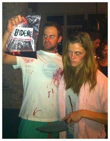 Brooklyn Decker and Andy Roddick looked like they were up to no good in their creepy costumes. Source: Twitter user BrooklynDecker
