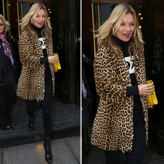 Kate Moss Wearing a Leopard Print Coat