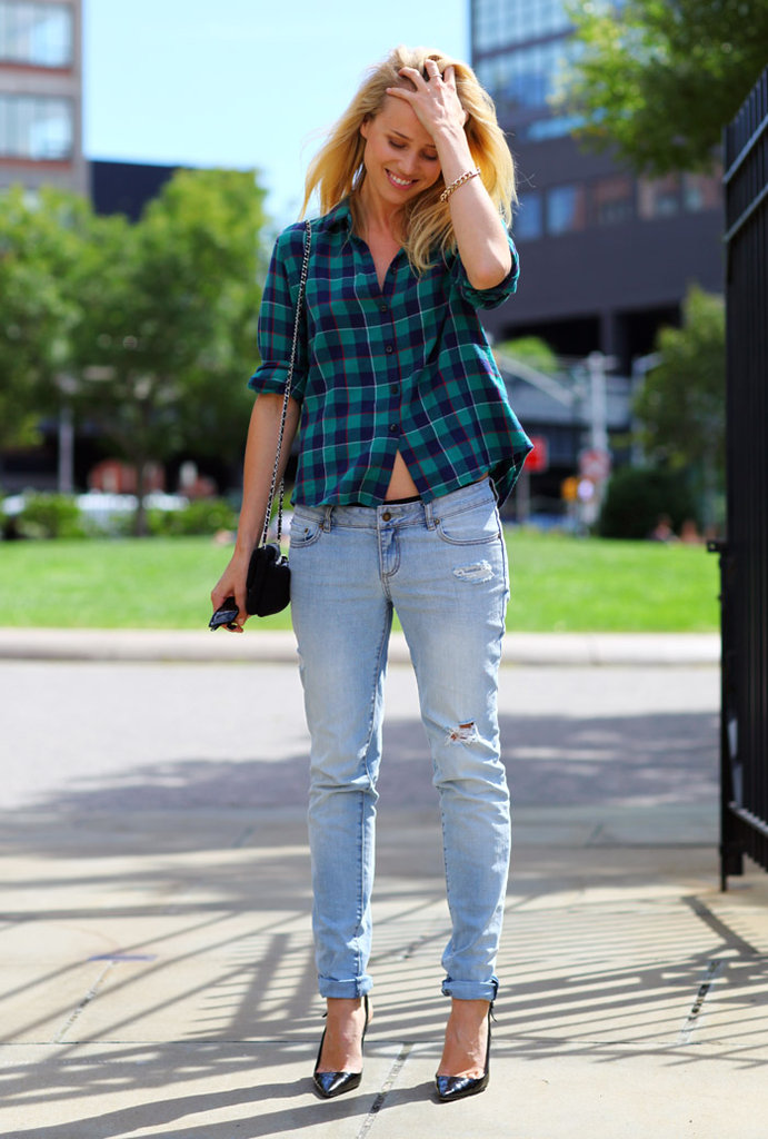 Elin Kling sported her black d'orsay pumps with cuffed jeans and a plaid button-down. Source: Phil Oh