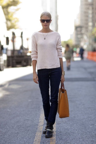 It doesn't take a lot; just a couple of perfect-fit Fall basics made this look ultrachic. Source: Adam Katz Sinding