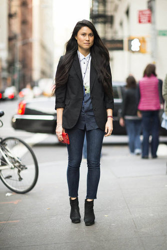 This styler offset her basic bottoms with a cool button-up and a classic blazer. Source: Adam Katz Sinding