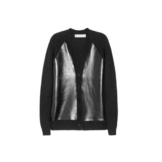 Marni Leather and Wool-Blend Cardigan