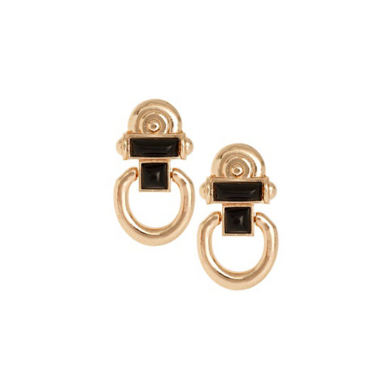 River Island Vintage Style Gold And Black Door Knocker Earrings