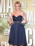 Miranda Lambert wore a strapless dress at the Country Music Association Awards in Nashville.