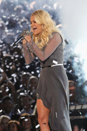 Carrie Underwood performed on stage at the Country Music Association Awards in Nashville.