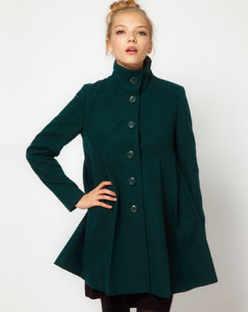 This ASOS Pleat Front Coat ($121) features a flirty swing detail, and we also love the dark, forest-green hue.