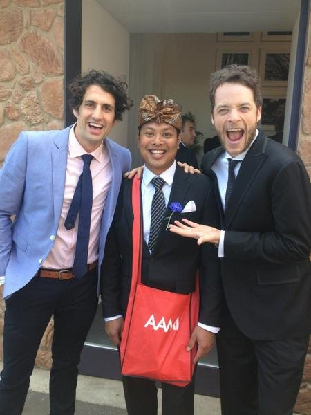 Hamish & Andy with 'Ketut' from the AAMI ads.