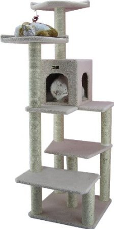 Made from pressed wood with faux-fleece covering, this multilevel cat tree ($132) has plenty of scratching posts and landings for your cat to explore.