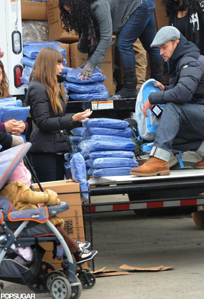 Jessica Biel and Justin Timberlake helped with Hurricane Sandy relief efforts in NYC in November 2012.