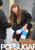 Jessica Biel handed out supplies.