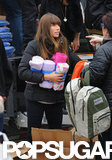 Jessica Biel passed out new supplies in the Rockaways.